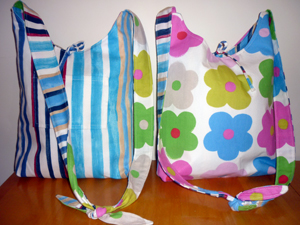 Katherine duffle bag in Stripes and flowers fabric from Tall Amy Bags