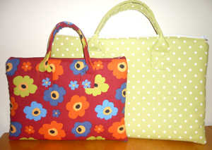 Alexandra Laptop bag in Flowers and sunshine spots yellow fabric from Tall Amy Bags