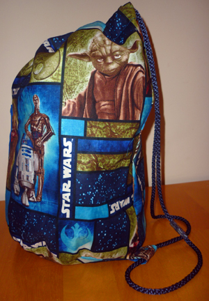 Francis duffle bag in Star Wars fabric from Tall Amy Bags