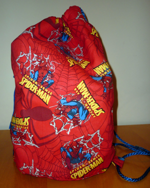 Francis duffle bag in The Amazing Spiderman fabric from Tall Amy Bags